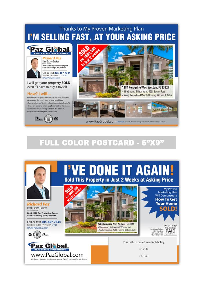 Real estate advertising postcards