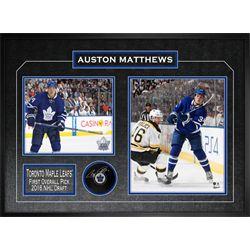 Matthews,A Signed Puck Framed w 2 Photos Leafs
