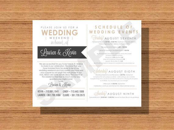 Wedding Weekend Itinerary Card, Wedding Weekend Schedule Events for- The Wedding Bridal Party, Guests, Vendors Etc. Wedding Weekend Timeline