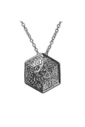 Celtic Pendant in hexagonal shape with Celtic knot on textured ground.