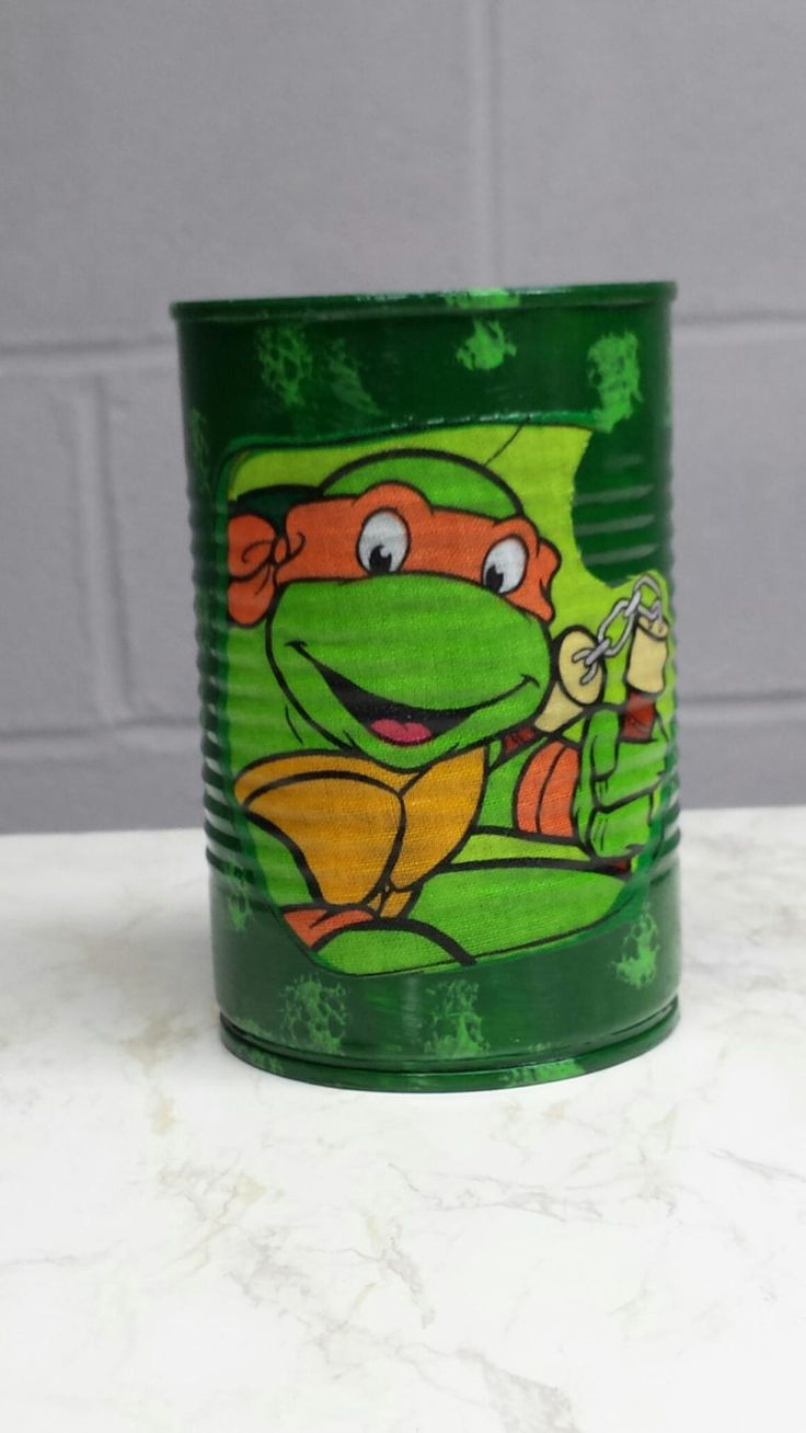 NINJA TURTLES MICHAELANGELO Can Holder/Pencils/Pens/Brushes/Markers ...
