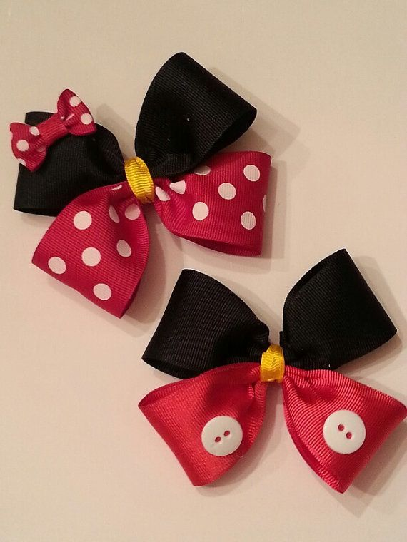 Mickey Mouse and Minnie Mouse Hair Bows by TheFROGBoutique on Etsy, $4.00