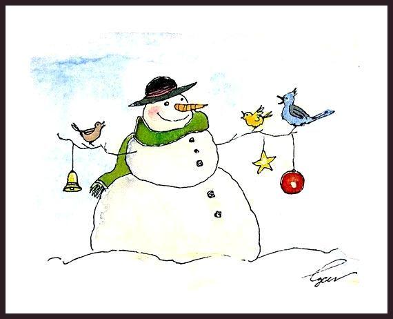 Schneemann Weihnachten Gruss Karte Schneemann Kunst Winter