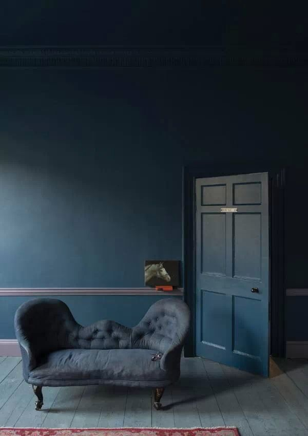 Love this dramatic blue for third room/ study