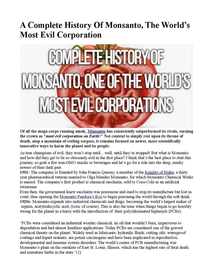 A Complete History Of Monsanto, The World's Most Evil Corporation INFOWARS.COM BECAUSE THERE'S A WAR ON FOR YOUR MIND