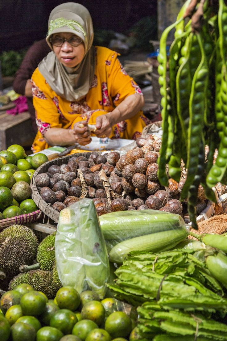 Fresh fruit, nuts, and vegetables are sold at a market in Borobudur, Indonesia.