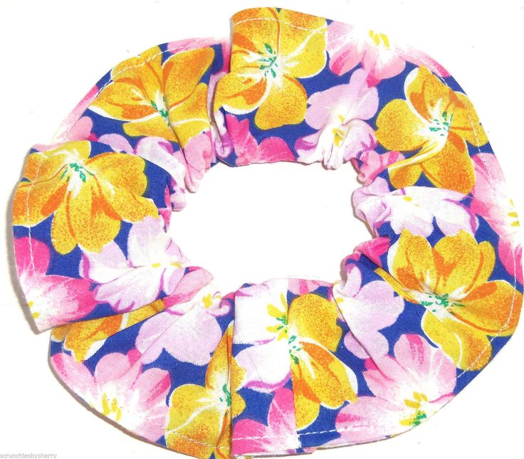 6.99$  Buy now - http://vitgo.justgood.pw/vig/item.php?t=zo7dif28649 - Floral Hair Scrunchie Blue Pink Gold Scrunchies by Sherry Flowers 6.99$