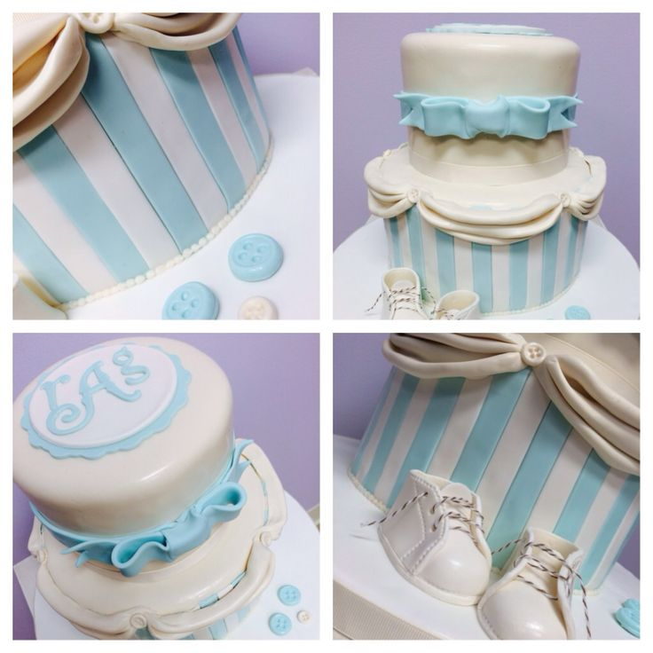 boy blue elegant baby shower cake edible baby shoes