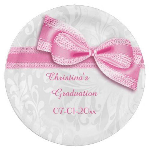 Graduation Pink Damask and Faux Bow Paper Plate