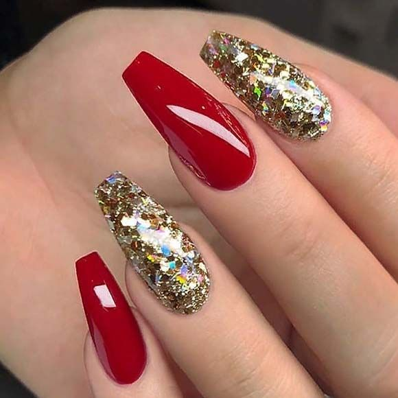 Red And Gold Glitter On Coffin Nails My Blog Red And Gold Nails Gold Acrylic Nails Gold Nails Prom
