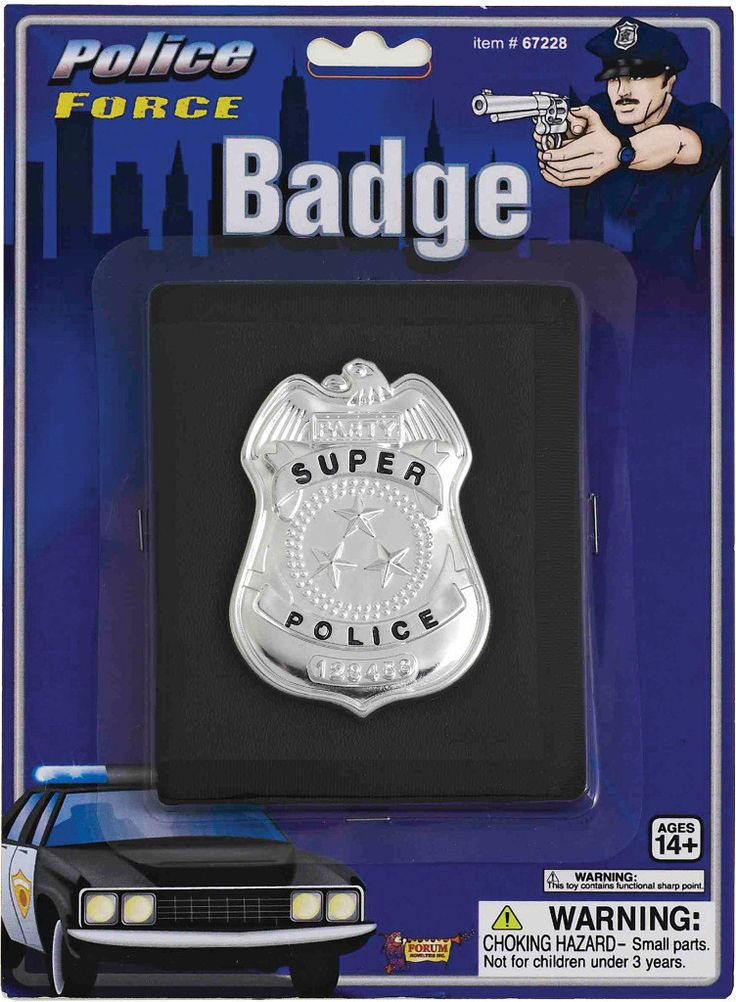 costume accessory: police badge with wallet accessory Case of 4