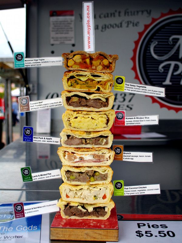 Click to enlarge - different meat pie fillings. YUM!