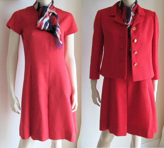 60s Ben Reig red dress with jacket and red white blue chiffon scarf vintage