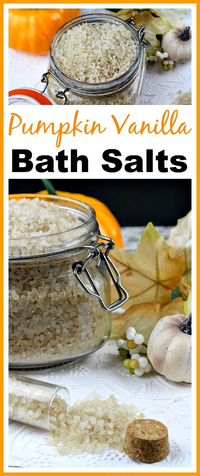 These DIY pumpkin vanilla bath salts help relax tired muscles, and they have a great fall smell, too! Add them to a hot bath and you'll be relaxed in minutes! | DIY Beauty