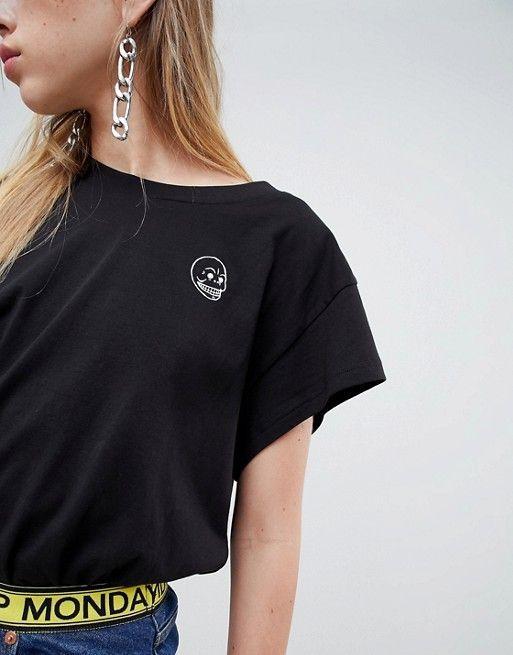 824a8f0c2374b Cheap Monday cap sleeve skull logo t-shirt