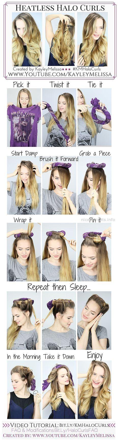 Curly hairstyles tutorials - Heatless Halo Curls Hair Tutorial Hair Long Hair Curly Hair Diy Hair Hairstyles Hair Tutorials Easy