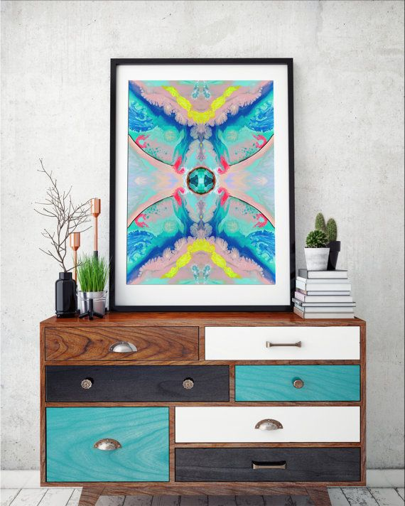 Geometric art print abstract print pink & aqua pastel wall