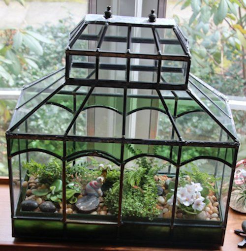 Victorian Style Terrarium Stained Glass Design