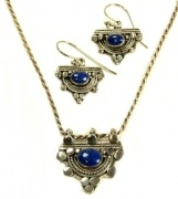 Stirling Silver Necklace and Earring Set -with Lapis semi precious stone pendant  $72.95