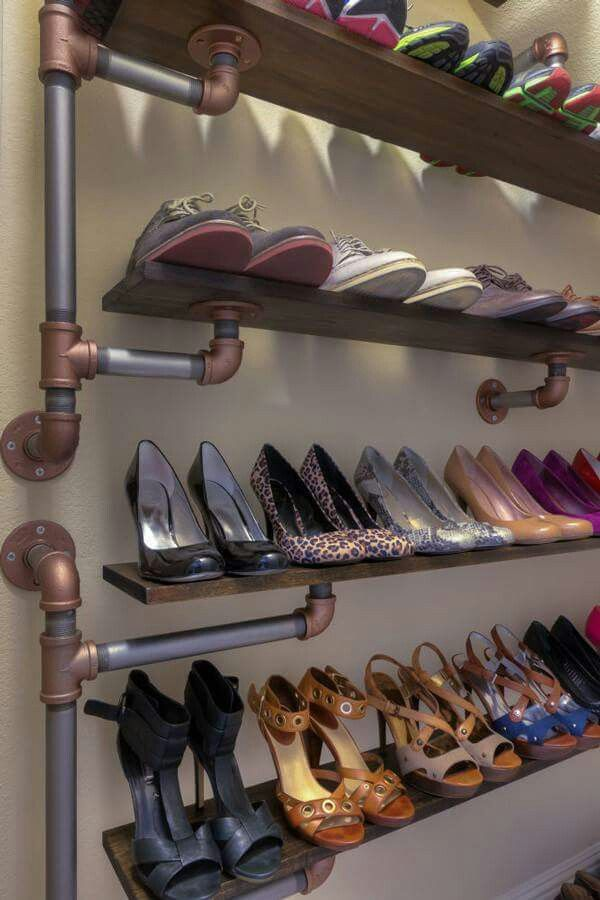 Beautiful Shoe Rack Made of Industrial Pipes