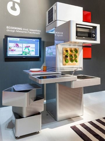 Future technology Concept Vertical Kitchen Ecooking