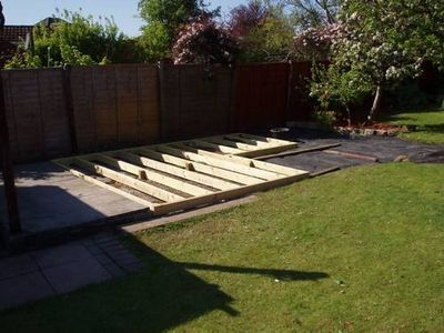 How to Make a Ground Level Wooden Deck   eHow.com