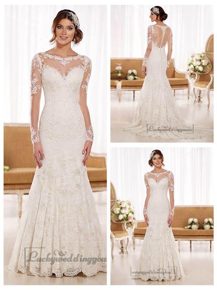 Timeless Vintage Lace Fit and Flare Wedding Dresses with Illusion   Neckline, Back, Sleeves http://www.ckdress.com/timeless-vintage-lace-fit-and-flare-wedding-  dresses-with-illusion-neckline-back-sleeves-p-2045.html  #wedding #dresses #dress #lightindream #lightindreaming #wed #clothing   #gown #weddingdresses #dressesonline #dressonline #bride