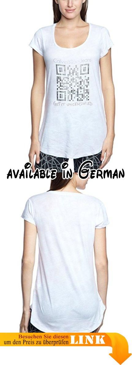 Calvin Klein Jeans Damen T-Shirt CWP88TJDA4M, Gr. 40 (L), Beige (X09). Calvin Klein. Damen T-Shirt. Farbe;Offwhite #Apparel #SHIRT