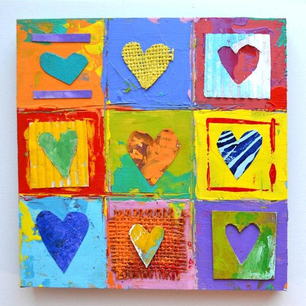 9 primitive hearts love ORIGINAL ART mixed media impasto wood  by Elizabeth Rosen. $42.00, via Etsy.