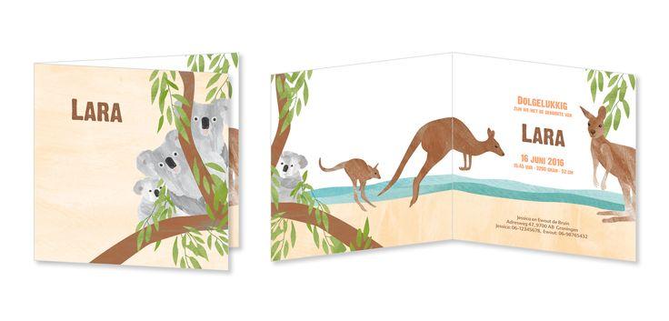 Vrolijk geboortekaartje met illustratie van dieren in Australië: lieve koala's in de boom en speelse kangoeroes op het strand.
