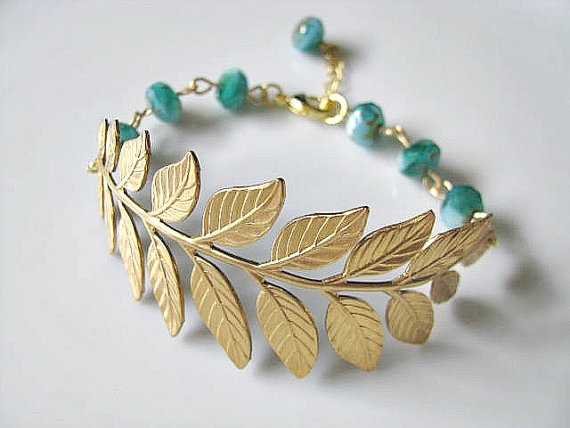 Brass Botanical Branch With Teal Blue Rustic Picasso Czech Glass Rondelle Beads Bracelet