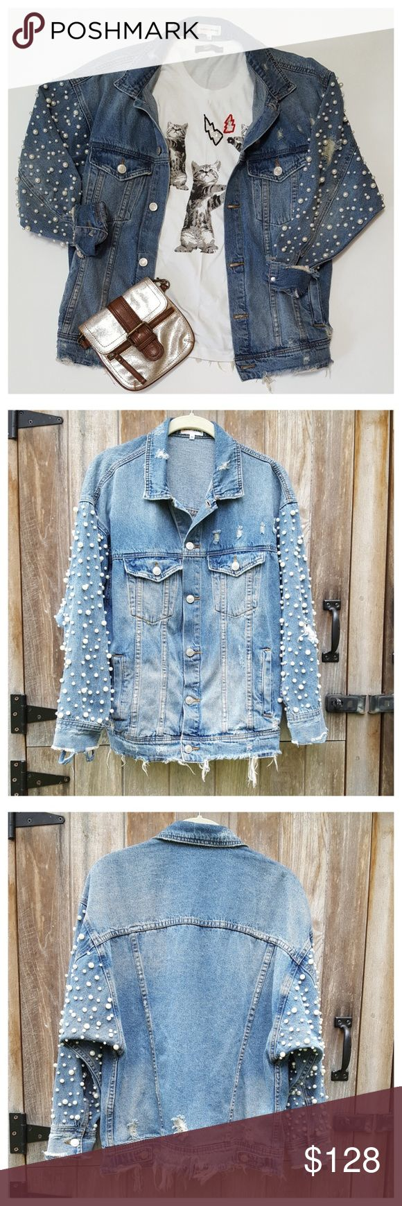 Sunset Spring Pearl Embellished Jean Jacket Embellished Jeans Distressed Denim Jacket Distressed Jean Jacket [ 1740 x 580 Pixel ]