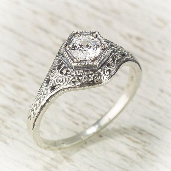 Filigrane Antik Vintage Diamant Verlobungsring von spexton auf Etsy