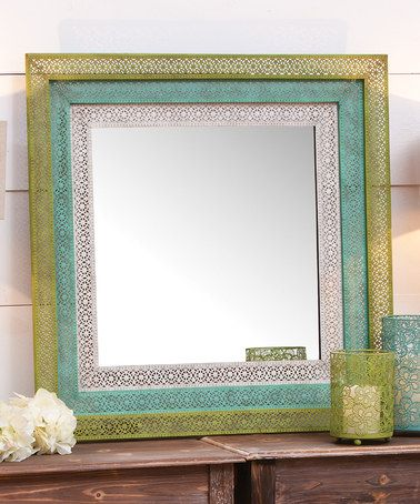 Blue & Green Pierced Metal Wall Mirror