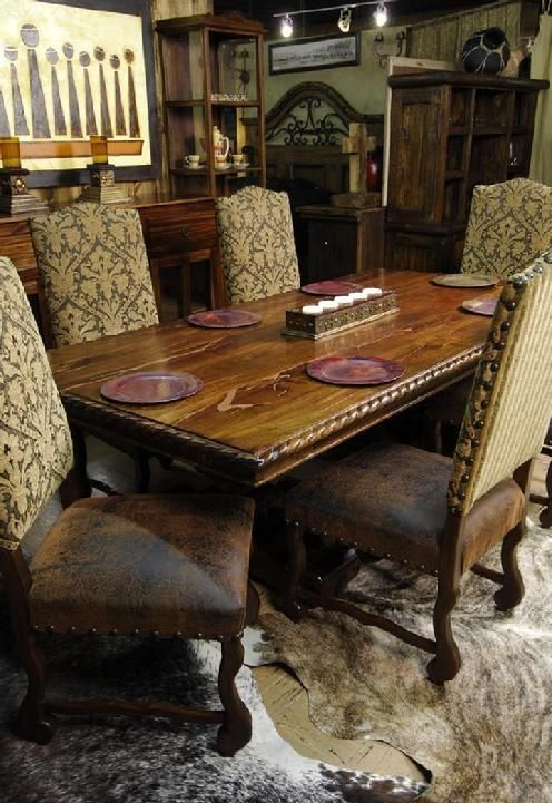 Santa Ana Mesquite Table  Copper Inlay   Rios Interiors  Fort Worth  Stockyards 19 best Mesquite furniture images on Pinterest   Haciendas  Rustic  . Mesquite Dining Room Tables. Home Design Ideas