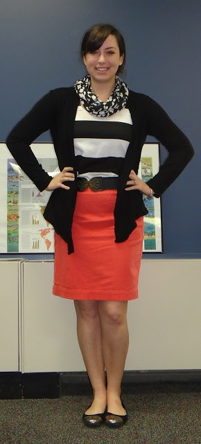 Bright pencil skirt, striped top, black cardigan and flats