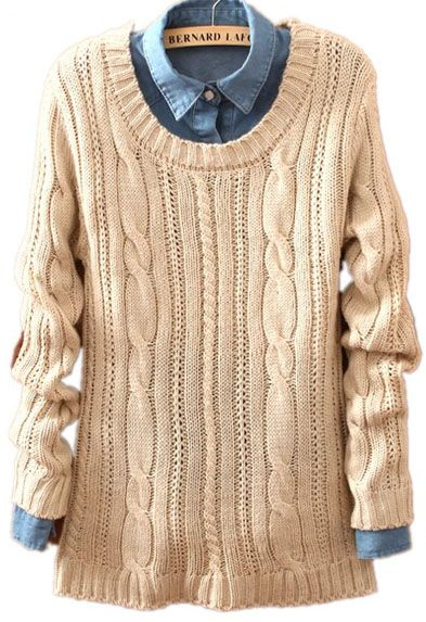 Beige Long Sleeve Patch Pullovers Loose Sweater - Sheinside.com