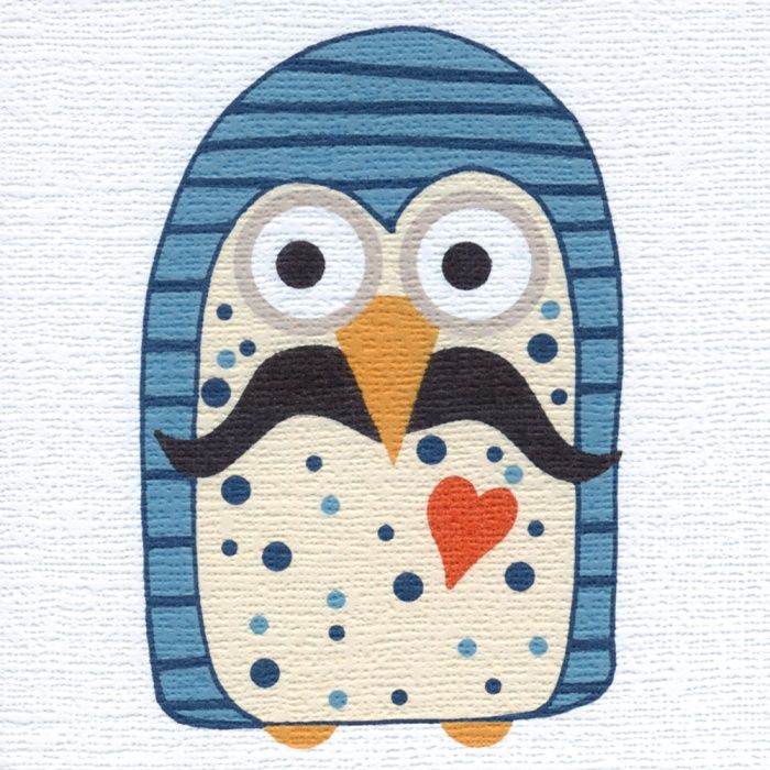 """""""Moustache Owl"""" Just the card for your friend with a moustache, or your friend who ought to have a moustache. Blank inside"""