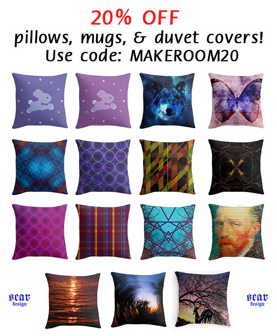 20% OFF  pillows, mugs, & duvet covers!  Use code: MAKEROOM20  #homedecor #babyroom #baby #home #homegifts #throwpillows #redbubble #scardesign #giftsforher #giftsforkids #kidsroom #teenroom #teengifts #buythrowpillows #pillows #buypillows #discount #sales #20%off