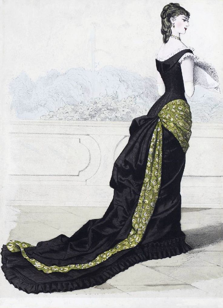 The Sum Of All Crafts: image collection-women (in black). no info on fashion plate from late 1870s. black ball / evening gown.