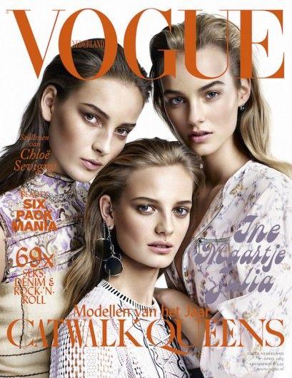 Vogue Netherlands April 2015 | Julia Bergshoeff, Ine Neefs en Maartje Verhoef | Alique