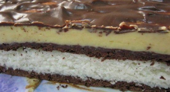 Nepečený kokosovo- čokoládový rez s vanilkovým krémom | Báječné recepty