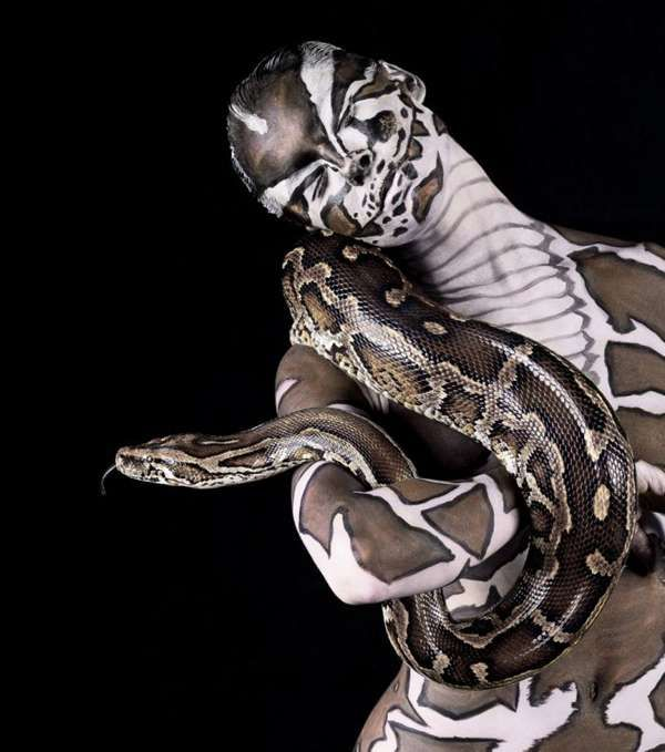 Safari Animal Similarities - The Lennette Newell Body Paint Series Explores Human's Wild Side (GALLERY)