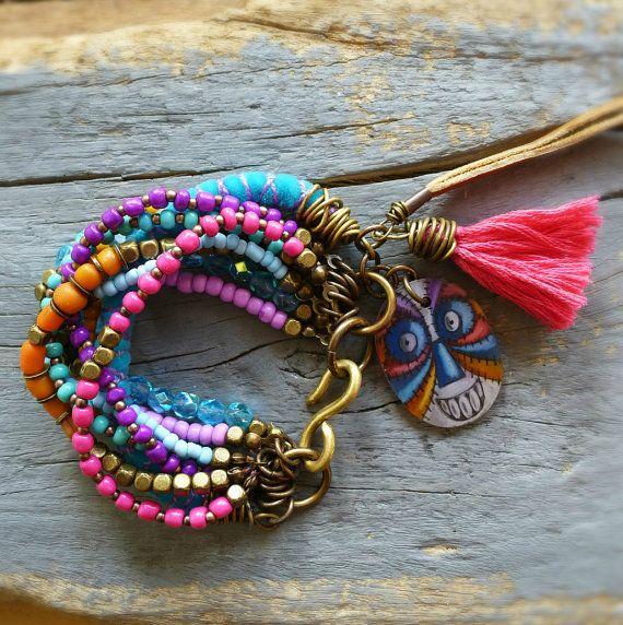 Gypsy, Bohemian, Ethnic, Beaded, multi strand tassel, charm bracelet