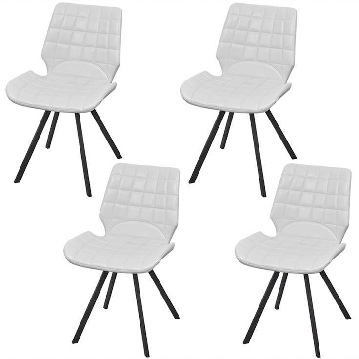 Vidaxl 4Pc White Pu Leather Dining Chair Padded Seat Steel Leg Kitchen Furniture | Buy Sets of 4