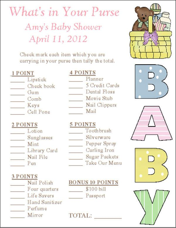 Baby shower -- Custom Printable Baby Shower Personalized What's In Your Purse Game Cards - Digital PDF file. , via Etsy.