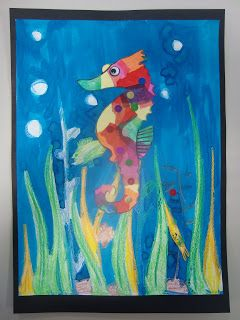 Once upon an Art Room: Rainbow Seahorses - inspired by Eric Carle.   http://www.onceuponanartroom.com/2012/07/rainbow-seahorses-inspired-by-eric-carle.html