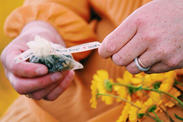 Saquinho em organza com algumas das sementes, plantas aromáticas que compõem o Licor Beirão.