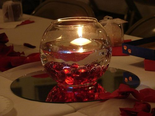 Gems votive in fish bowl centerpiece wedding ideas