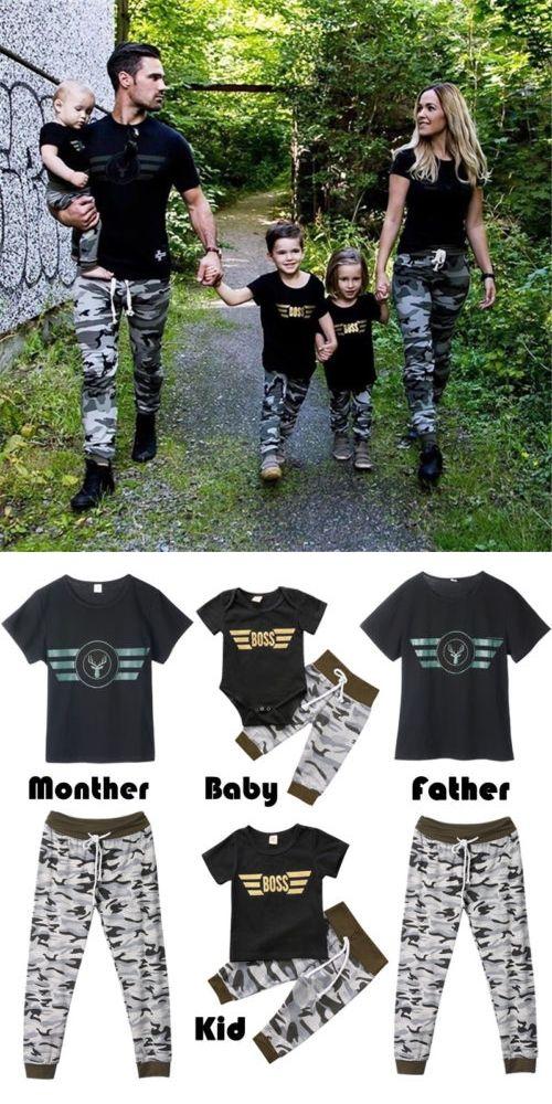 71bc56153725 Summer Family Matching Women Baby Romper Kid Short Sleeve T-shirt+ ...